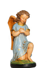 Angel in prayer with blue dress gypsum, statue made of gypsum and hand painted, isolated on white