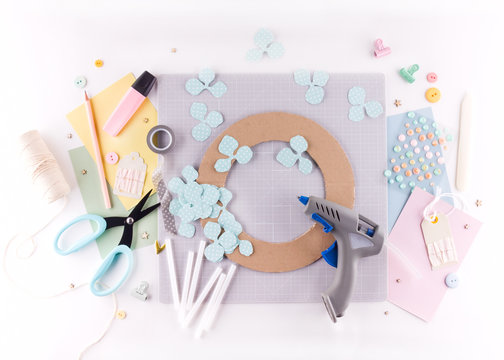 Scrapbooking master class. Diy. Make a spring decor for interior - floral wreath made of paper. Pastel colors. Women's hobby.