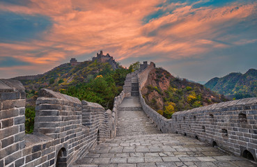 View of Great wall of China near Beijing during sunset
