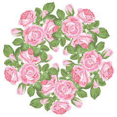 Floral round pattern on white background. Realistic pink roses