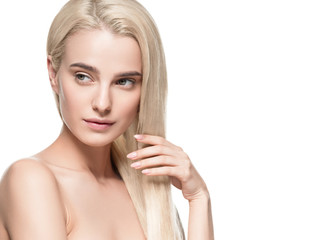 Beautiful blonde girl portrait, woman face with perfect long hairstyle.