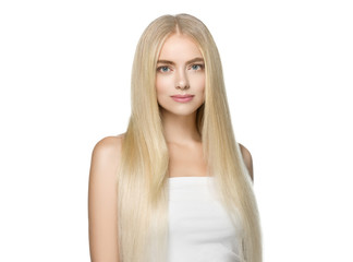 Beautiful blonde woman smooth long hair portrait, female face with perfect long hairstyle.