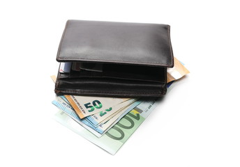 Euro banknotes, bills in leather wallet isolated on white background