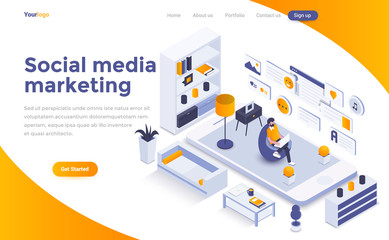 Flat color Modern Isometric Concept Illustration - Social Media marketing