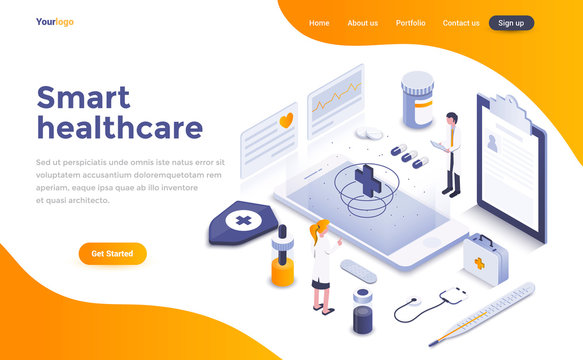 Flat color Modern Isometric Concept Illustration - Smart Healthcare