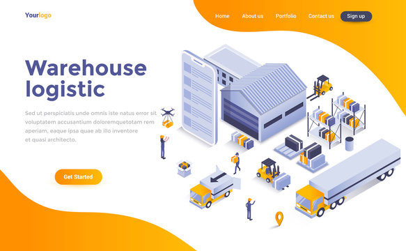 Flat color Modern Isometric Concept Illustration - Warehouse Logistic