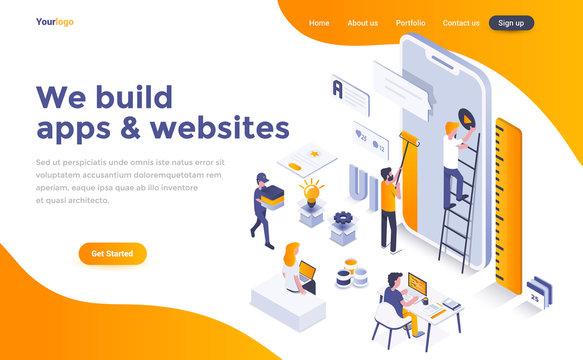 Flat color Modern Isometric Concept Illustration - We build apps and websites