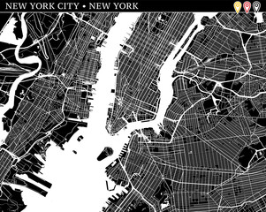 Simple map of New York City, New York