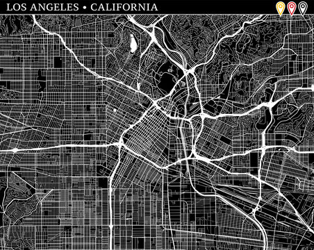 Simple map of Los Angeles, California
