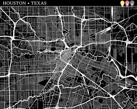 Simple map of Houston, Texas