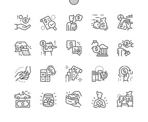 Loan Well-crafted Pixel Perfect Vector Thin Line Icons 30 2x Grid for Web Graphics and Apps. Simple Minimal Pictogram