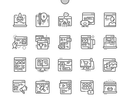 Types of sites Well-crafted Pixel Perfect Vector Thin Line Icons 30 2x Grid for Web Graphics and Apps. Simple Minimal Pictogram