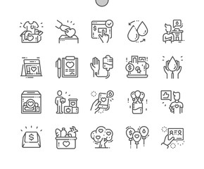 Donation Well-crafted Pixel Perfect Vector Thin Line Icons 30 2x Grid for Web Graphics and Apps. Simple Minimal Pictogram