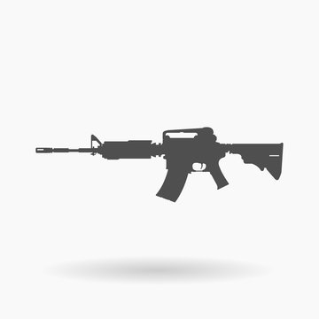 AR-15 Assault Rifle Icon Illustration silhouette.