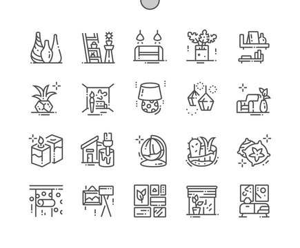 Home decoration Well-crafted Pixel Perfect Vector Thin Line Icons 30 2x Grid for Web Graphics and Apps. Simple Minimal Pictogram