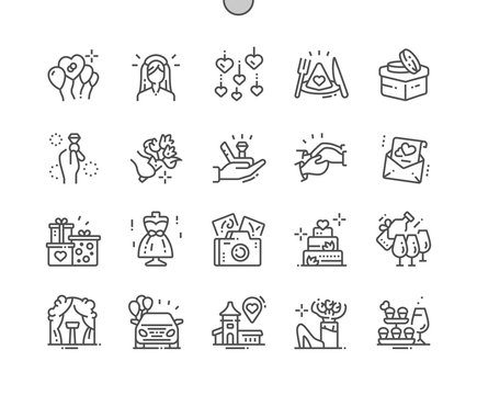 Wedding Well-crafted Pixel Perfect Vector Thin Line Icons 30 2x Grid for Web Graphics and Apps. Simple Minimal Pictogram