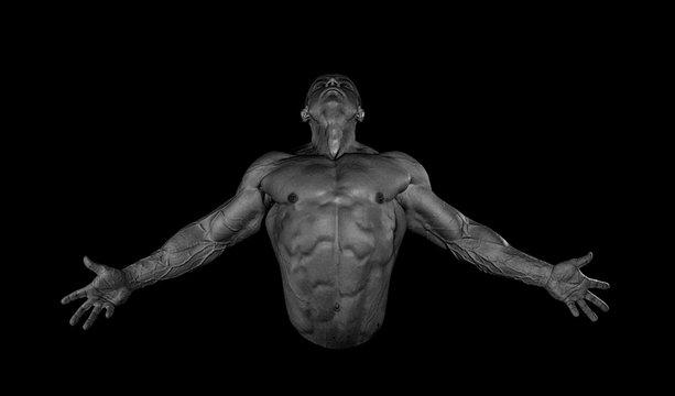 Portrait of male bodybuilder posing