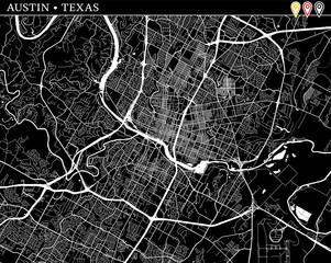 Simple map of Austin, Texas