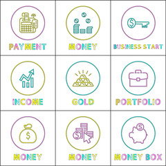 Wall Mural - Online Payments and Web Income Round Linear Icons