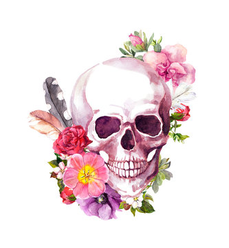 Human skull with flowers, feathers in vintage boho style. Watercolor