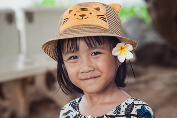 Portrait of Asia young children woman Smiling . Concept of Smiling faces little girl is happy .