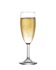 Champagne in glass isolated on white background.