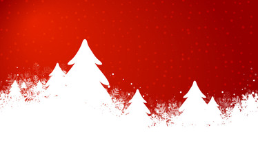 red snowy christmastree background