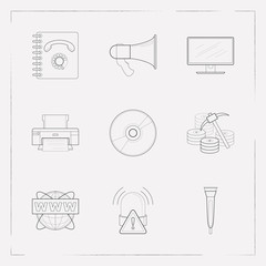Set of tech icons line style symbols with data mining, microphone, monitor and other icons for your web mobile app logo design.