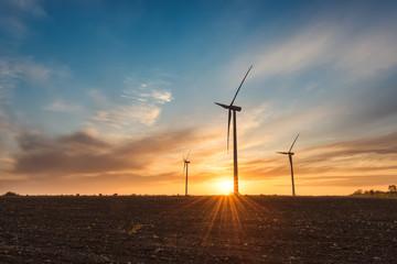 Wind farm at sunrise / A beautiful sunset view with wind farm near Kavarna; Bulgaria