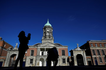 People take pictures of Dublin Castle in Dublin