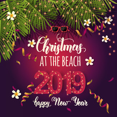 """Christmas background with summer tropical symbols, serpentine and hand written quote """"Christmas at the beach. Happy New Year 2019"""". Banner,poster, flyer, brochure"""