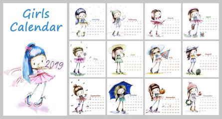 Calendar for 2019 with cute season girl. Sketch girls illustrati