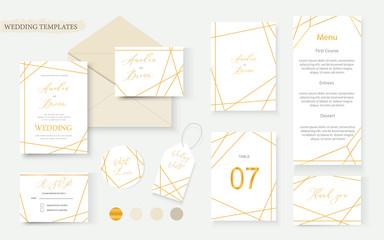 Wedding geometrical gold invitation card envelope save the date rsvp menu