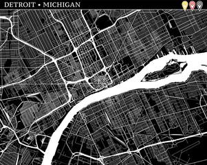Simple map of Detroit, Michigan