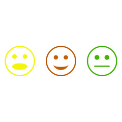 Collection of smiling symbols on white background. Emoticon. Vector illustration