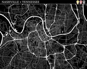 Simple map of Nashville, Tennessee