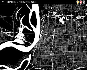 Simple map of Memphis, Tennessee
