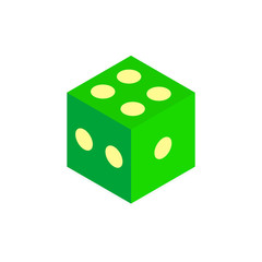 Realistic cube. Green color. Vector illustration