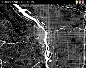 Simple map of Portland, Oregon