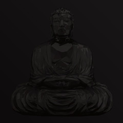 Dark Buddha Meditating Vector Low Poly Isolated Statue 3D Rendering