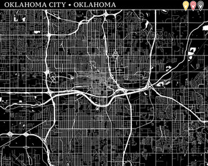 Simple map of Oklahoma City, Oklahoma