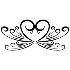 Heart of birds in love, romantic pattern, feelings