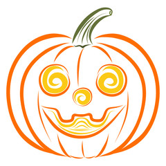 Funny orange pumpkin with a wide smile, pattern