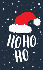 Santa Claus red hat with text Ho ho ho. Christmas greeting card. Vector illustration