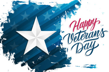 USA Happy Veterans Day celebrate banner with silver star on brush stroke background and hand lettering text Happy Veterans Day. United States national holiday vector illustration.