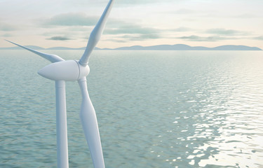 Windmill turbine for electric power and eco power with Ocean, 3D rendering.