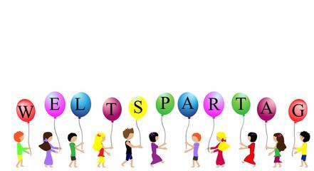 Kinder tragen Ballons mit der Aufschrift Weltspartag