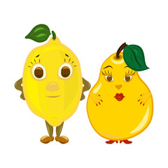 Two funny yellow fruits, a lemon and a pear, he and she