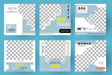 Modern promotion square web banner for social media mobile apps. Elegant sale and discount promo backgrounds fo digital marketing. Email ad newsletter layouts. Blue. Fashion  Sale. Bag. Dress.