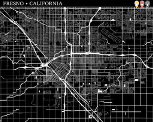 Simple map of Fresno, California